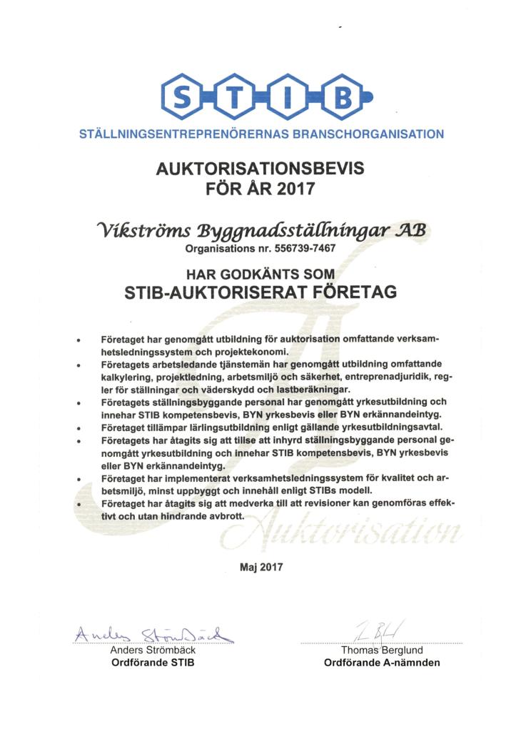 STIB auktorisation 2017